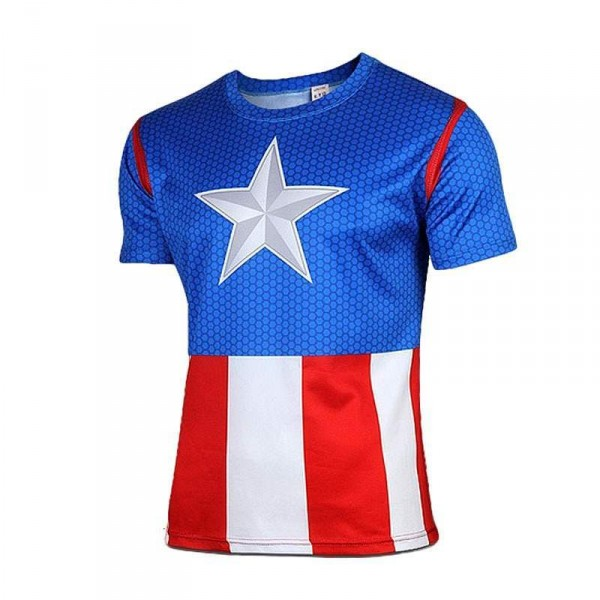 T Shirt Compression homme Captain America The Avengers fashion musculation hot blue 20