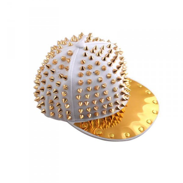 Casquette Punk hip-hop Gold spike studded hat blanc white
