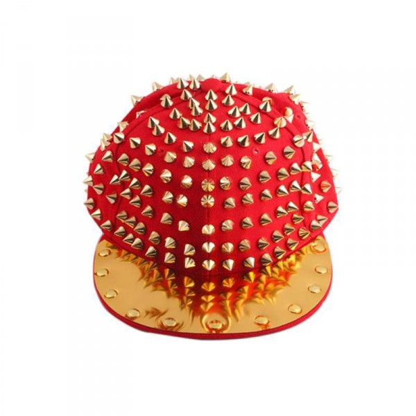 Casquette Punk hip-hop Gold spike studded hat rouge red