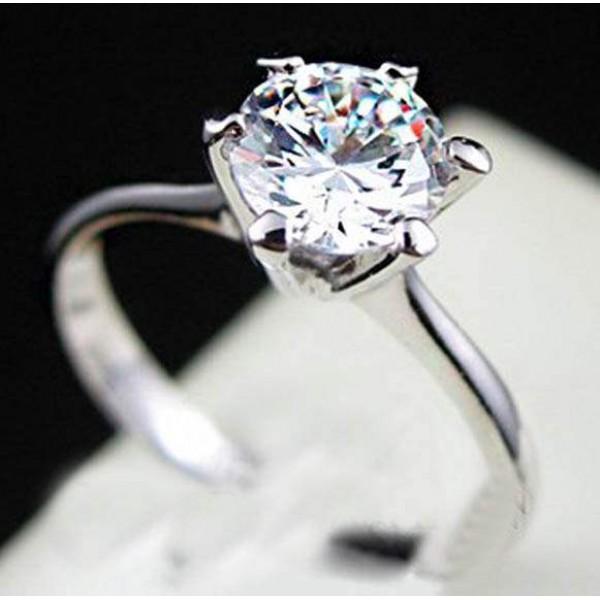 Bague Or Blanc/Jaune Femme Solitaire engagement Zircon 1 carat Plaqué Or 18 K
