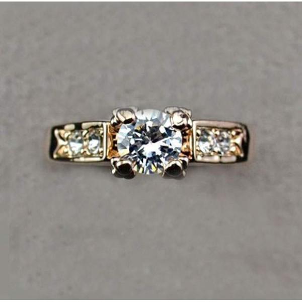 Bague Plaque or 18K solitaire avec zirconium cubique Fiancailles engagement Diamond style