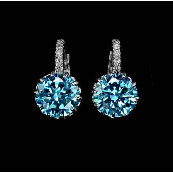 Boucles d'oreilles Plaque Or Blanc Zircon Bleu 2.75 ct fashion Jewelry