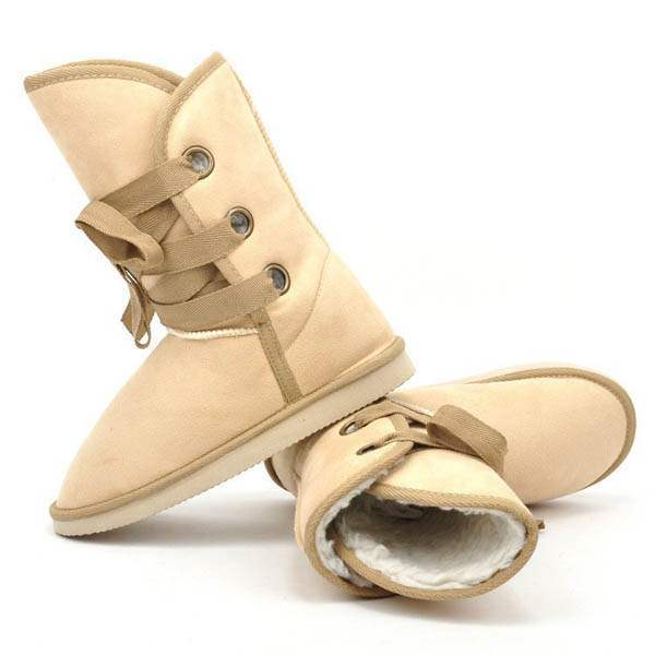 Boots Semi montantes Fourrees Fashion Lacets satin Winter Beige