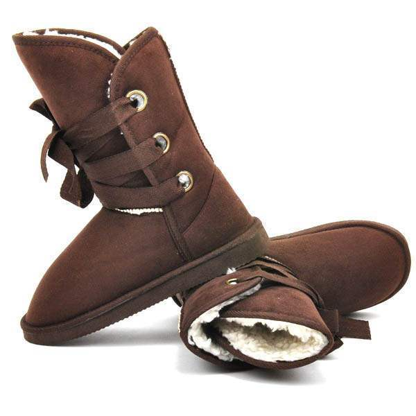 Boots Semi montantes Fourrees Fashion Lacets satin Winter Marron