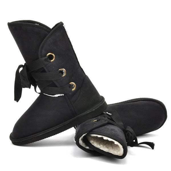 boots semi montantes fourrees fashion lacets satin winter noir. Black Bedroom Furniture Sets. Home Design Ideas