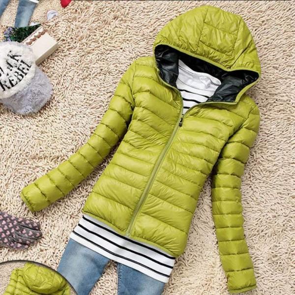 613d0f4a39 Doudoune Femme à capuche Fashion Parka Chic Fine coat Verte