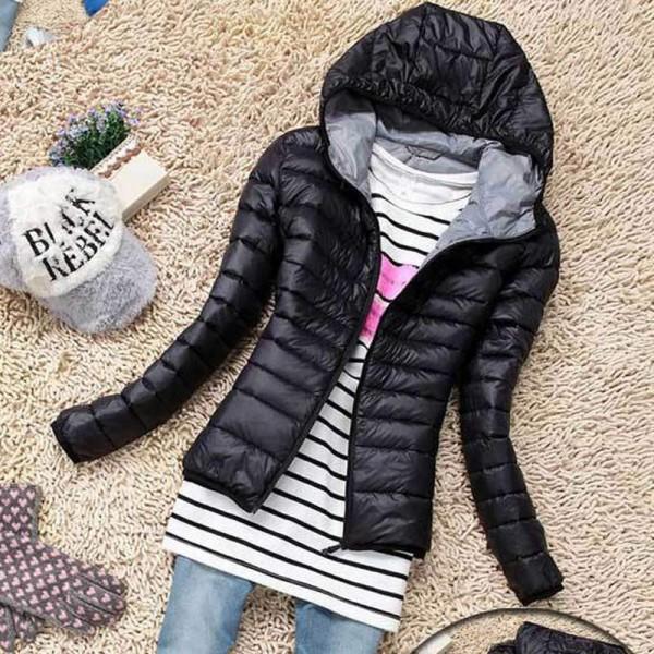 doudoune femme capuche fashion parka chic fine coat noire. Black Bedroom Furniture Sets. Home Design Ideas