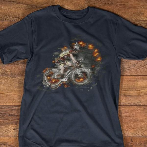T-shirt Noir Imprime Cycliste effet feu design