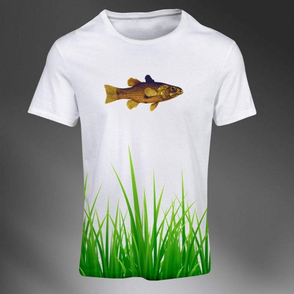 T-shirt Homme Fashion Imprime All Over Print Exclusif Abstract Herbe nature Poisson
