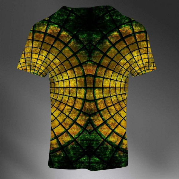 T-shirt Homme Fashion Imprime All Over Print Exclusif Abstrait Geometric Gold Green Luxury