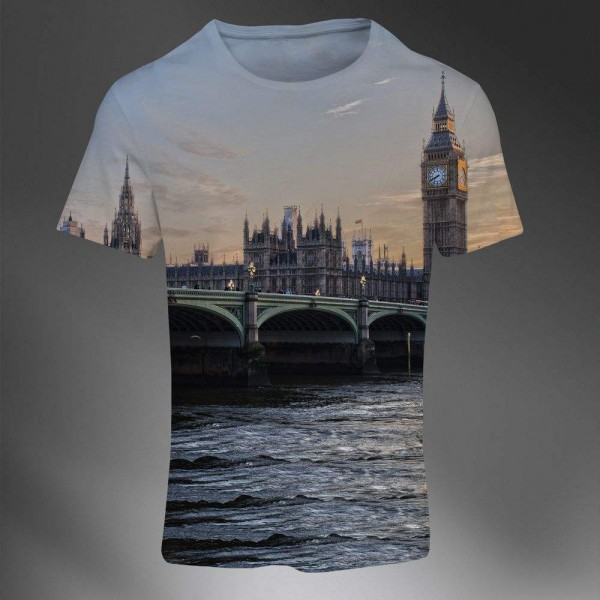 T-shirt Homme Fashion Imprime All Over Print Exclusif Photographie 3D London City