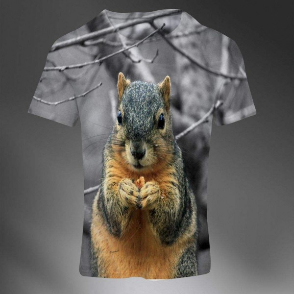 T-shirt Homme Fashion Imprime All Over Print Exclusif 3D Animal Ecureuil Cute Photo