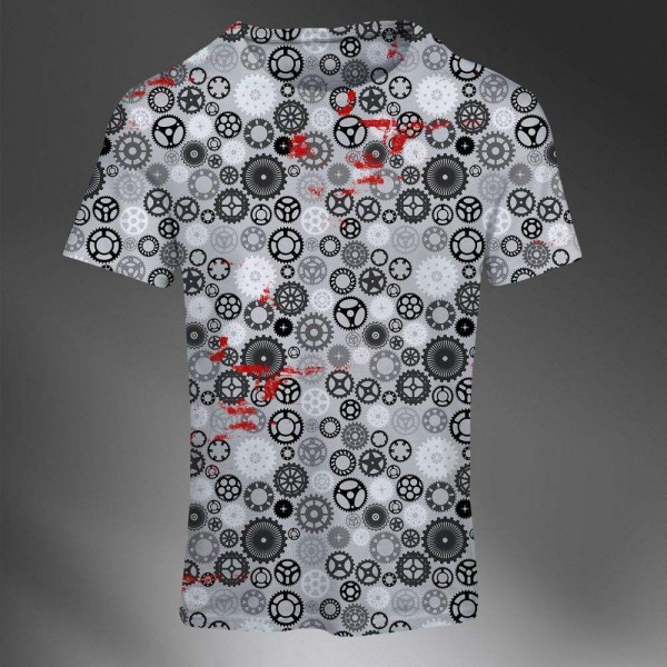 T-shirt Homme Fashion Imprime All Over Print Exclusif Engrenage Mecanique Pattern