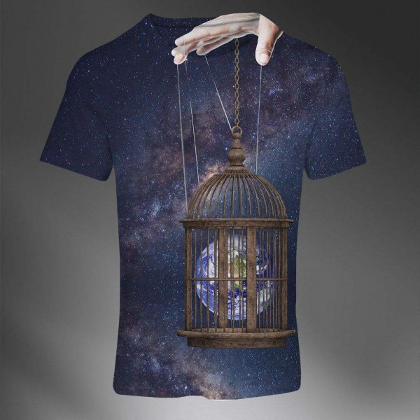T-shirt Homme Fashion Imprime All Over Print Exclusif Galaxie Univers Abstract Art Manipulation