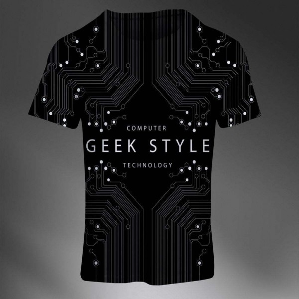T-shirt Homme Fashion Imprime All Over Print Exclusif Geek Elegant Noir Informatique