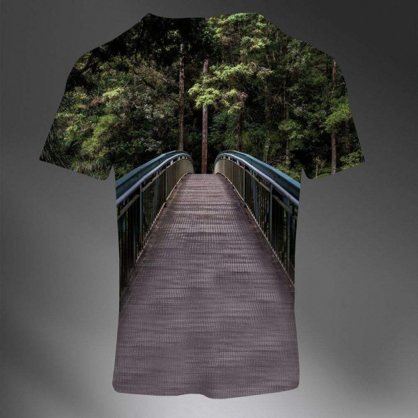 T-shirt Homme Fashion Imprime All Over Print Exclusif 3D Paysage Pont Photo