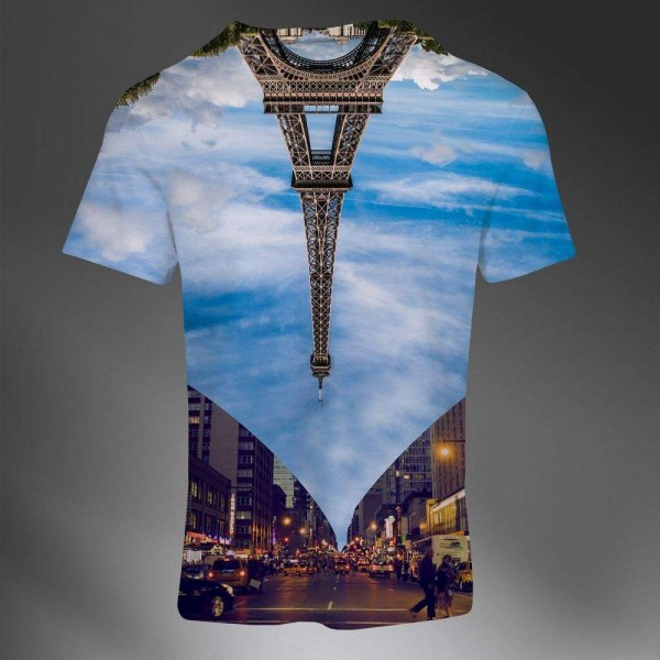 T-shirt Homme Fashion Imprime All Over Print Exclusif Photo Paris Tour Eiffel renversee Luxe design