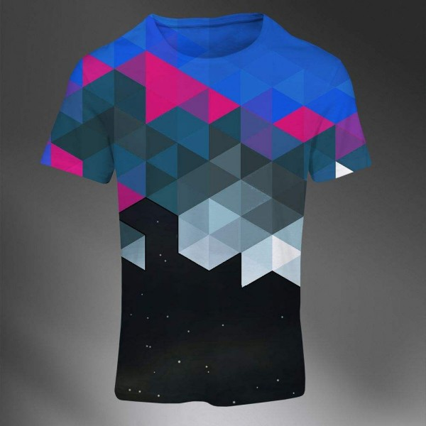 T-shirt Homme Fashion Imprime All Over Print Exclusif Polygones Color Abstract