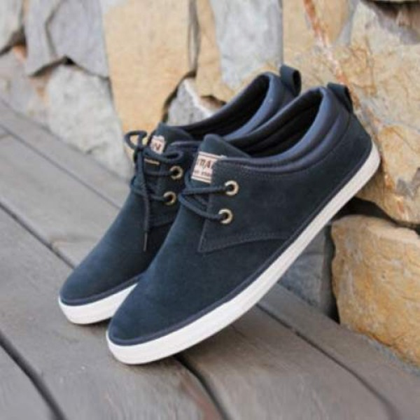 Baskets bateau Homme Sneakers casual shoes canvas toile chic Bleues