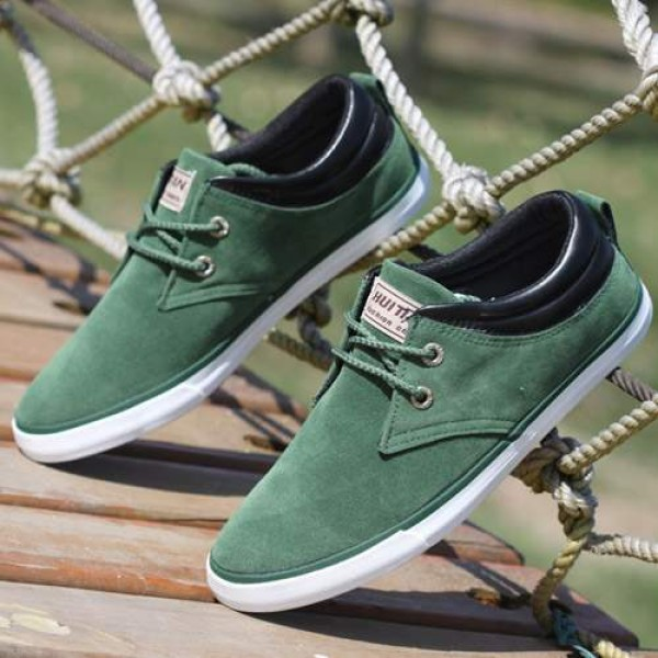 Baskets bateau Homme Sneakers casual shoes canvas toile chic Vertes