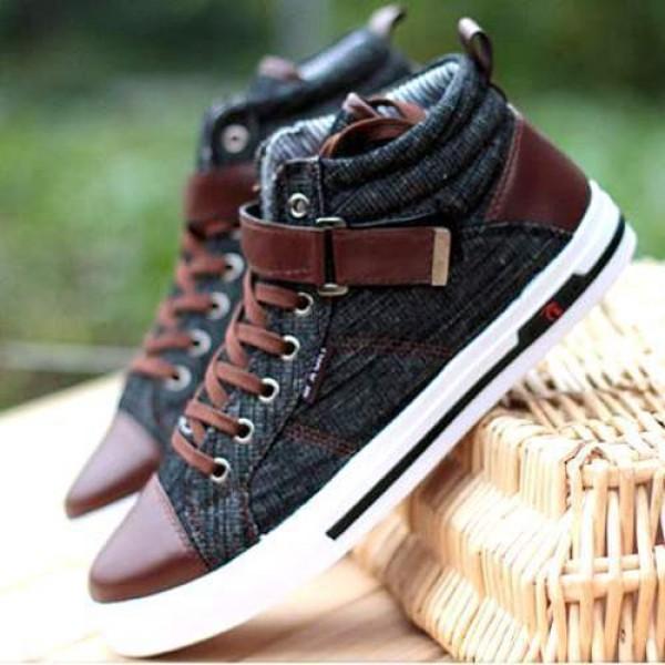 18a4e5c465c7b Baskets Homme fashion Sneakers Jean denim Casual shoes Noires