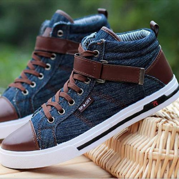 Baskets Homme fashion Sneakers Jean denim Casual shoes Bleues