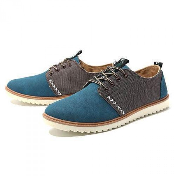 Chaussures Homme Casual Suede Large confortable Style Fashion Bleu