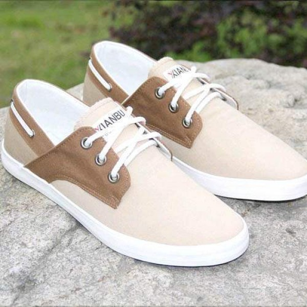 chaussures bateau homme sneakers casual shoes canvas toile chic khaki. Black Bedroom Furniture Sets. Home Design Ideas