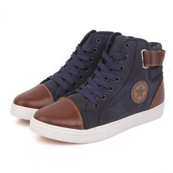 Baskets Homme Montantes Sport Boucle fashion Sneakers Confort Casual Bleu