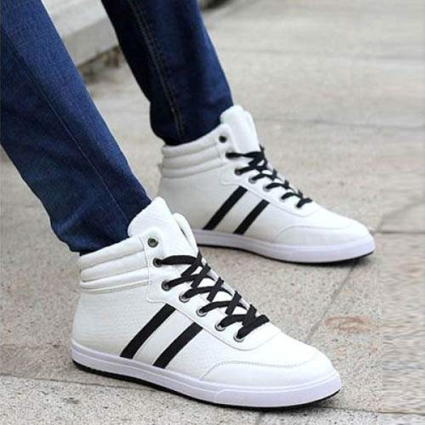 Baskets Homme Montantes Winter Sneakers Casual Sport Blanc