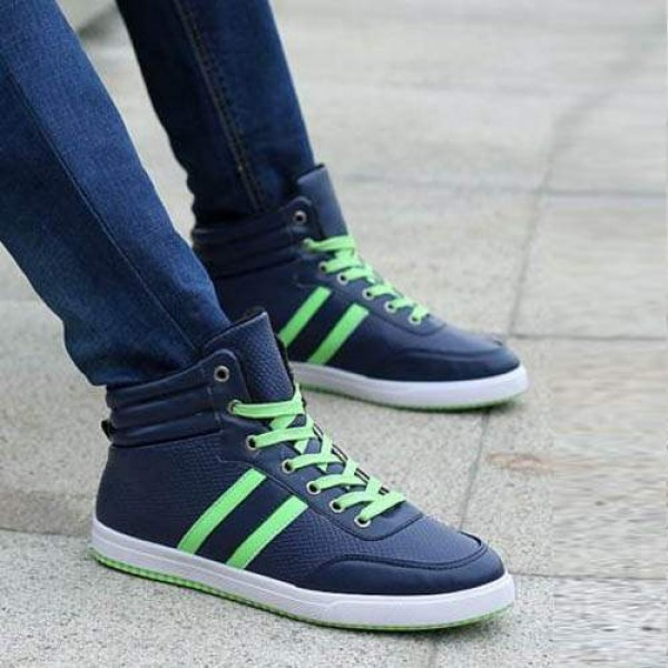 Baskets Homme Montantes Winter Sneakers Casual Sport Bleu