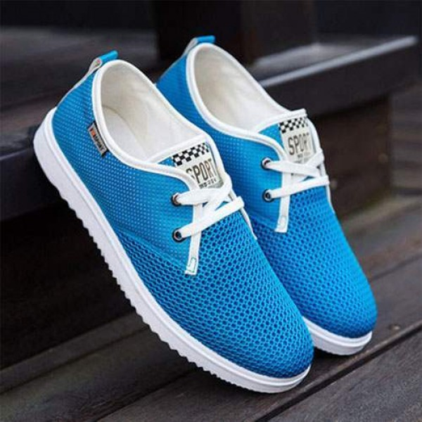 Chaussures Bateau Homme Sport Casual Toile Respirable Bleu