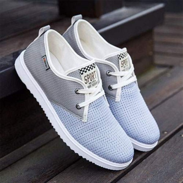 Chaussures Bateau Homme Sport Casual Toile Respirable Gris