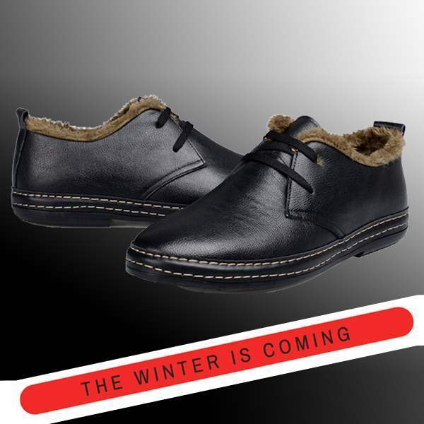 Chaussures Fourrees Homme Noir Fashion Hiver Warm Winter Shoes
