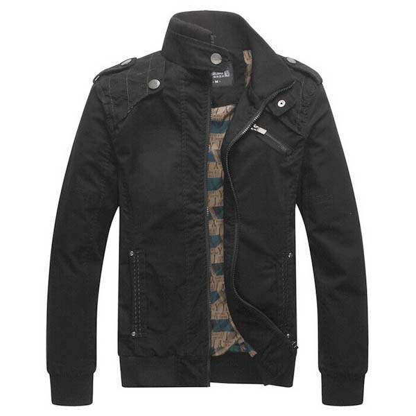 Blouson Homme Fashion Outwear Jacket Casual Coton Noir