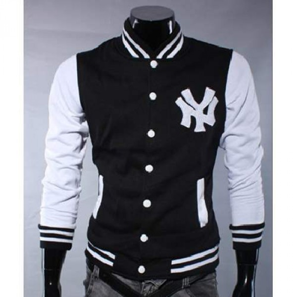 blouson veste homme fashion baseball ny jacket sport noir. Black Bedroom Furniture Sets. Home Design Ideas
