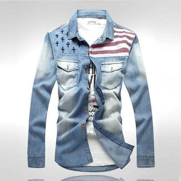 chemise homme vintage fashion american flag urban outfit men denim jean. Black Bedroom Furniture Sets. Home Design Ideas