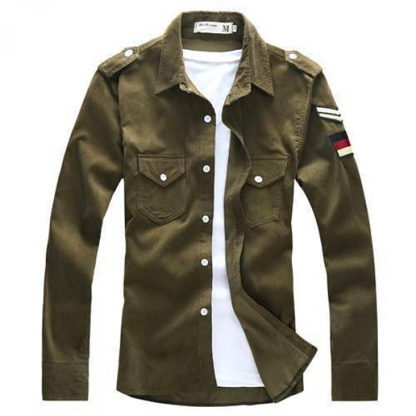 chemise homme fashion classic military chevron men outfit. Black Bedroom Furniture Sets. Home Design Ideas