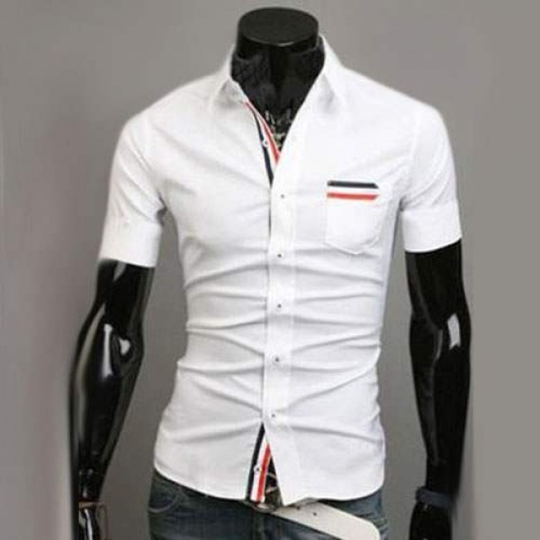 Chemise Homme manches courtes Men Elegance Bande rayee Fitted Blanc