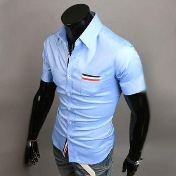 Chemise Homme manches courtes Men Elegance Bande rayee Fitted Bleu clair