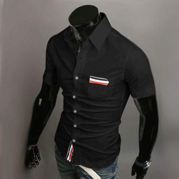 Chemise Homme manches courtes Men Elegance Bande rayee Fitted Noir