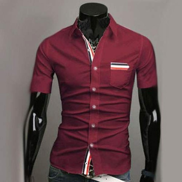 Chemise Homme manches courtes Men Elegance Bande rayee Fitted Rouge