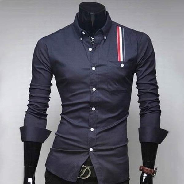Chemise Homme Stylish Men Elegance chevron Bande rayee Fitted Marine