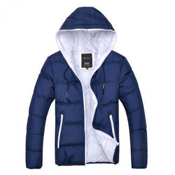 doudoune homme parka capuche bicolore urban jacket coat fashion bleu fonce marine. Black Bedroom Furniture Sets. Home Design Ideas