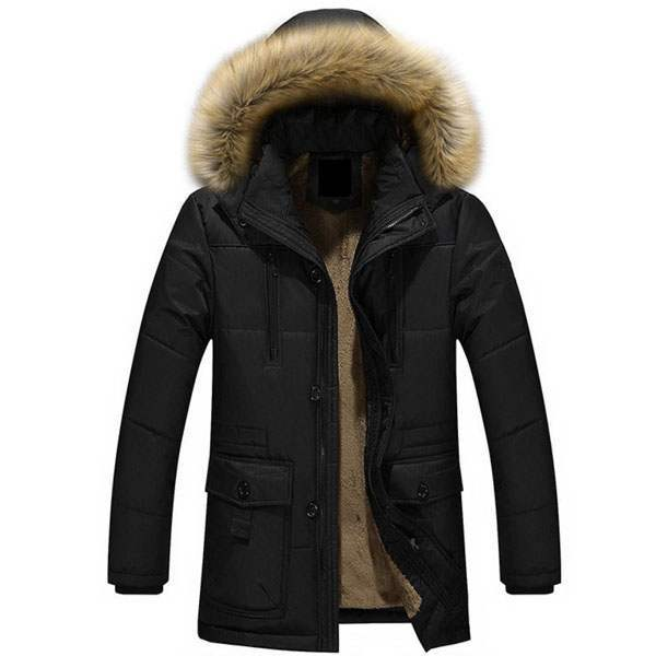 doudoune homme capuche fourrure luxury outwear noir. Black Bedroom Furniture Sets. Home Design Ideas