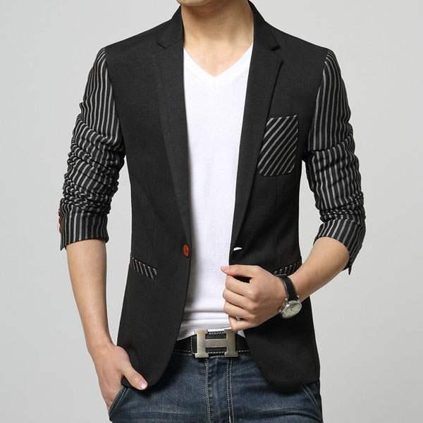 veste costume homme fashion ceintree rayee slim fit noir. Black Bedroom Furniture Sets. Home Design Ideas