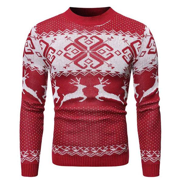 Pull Homme Fashion Noel Hiver Motif renne Rouge