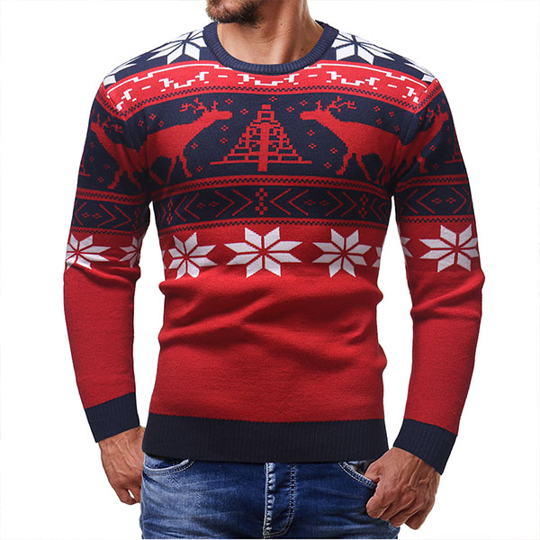 Pull Homme Fashion Fitted Noel Scandinave Rouge