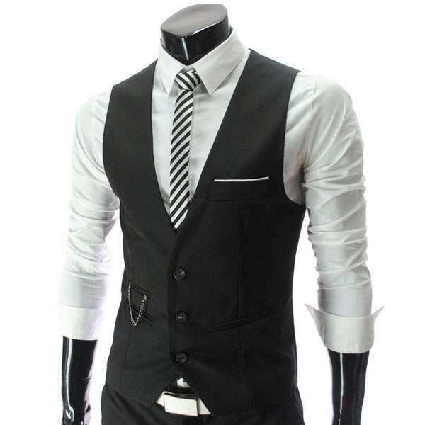 Gilet Veston Costume homme habille Fashion Classe Slim Fit