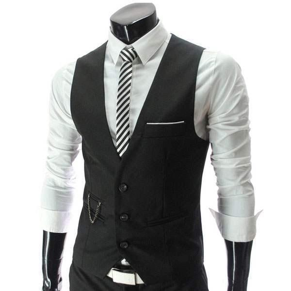 gilet veston costume homme habille fashion classe slim fit. Black Bedroom Furniture Sets. Home Design Ideas